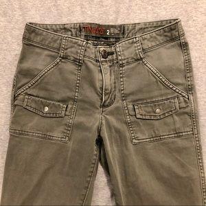 TNA skinny cargo pants, army green, size 2